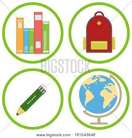 School Supplies, Backpack, Pencil, Textbooks, Globe