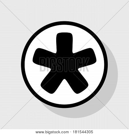 Asterisk star sign. Vector. Flat black icon in white circle with shadow at gray background.