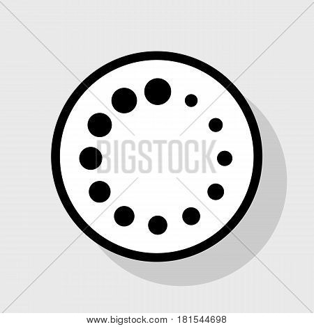 Circular loading sign. Vector. Flat black icon in white circle with shadow at gray background.
