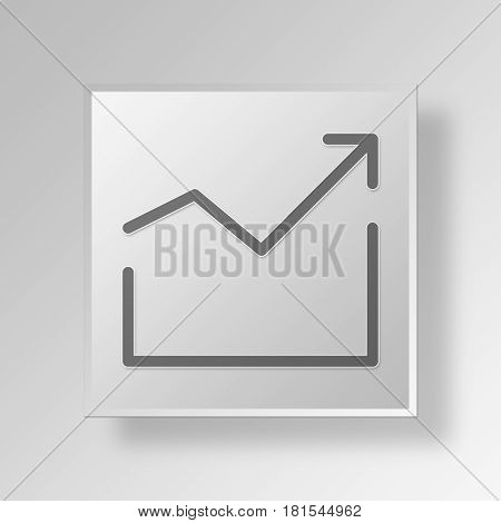 3D Symbol Gray Square grow icon Business Concept