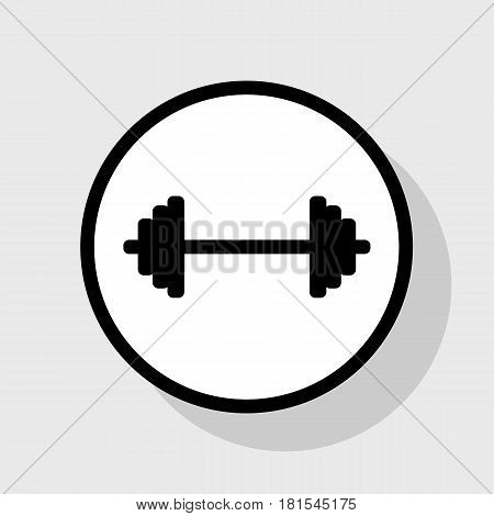 Dumbbell weights sign. Vector. Flat black icon in white circle with shadow at gray background.