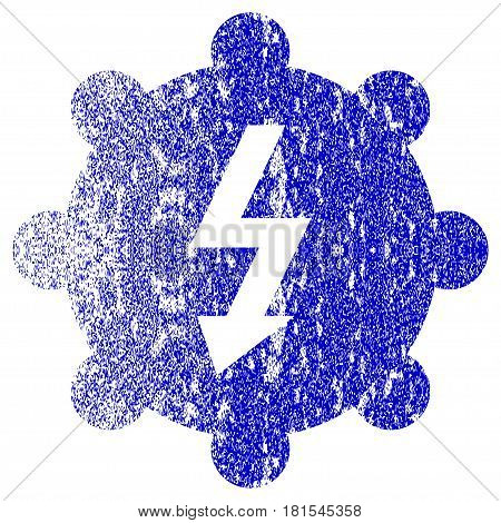 Electricity Cog Wheel textured icon for overlay watermark stamps. Blue vectorized texture. Flat vector symbol with unclean design. Blue rubber seal stamp imitation.