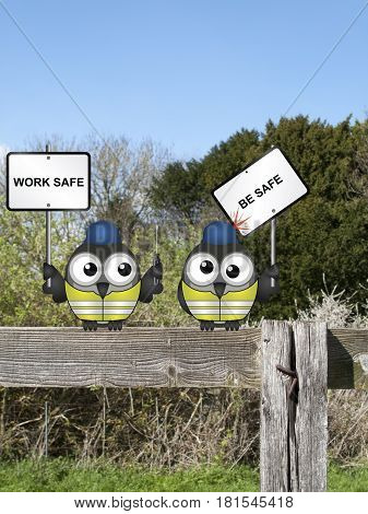 Comical construction workers with health and safety work safe be safe message perched on a countryside fence