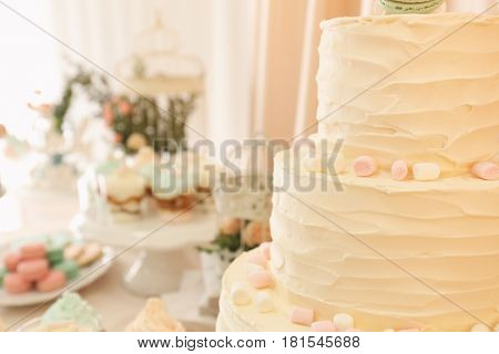 Candy bar. Tasty multi level cake with sweets on table