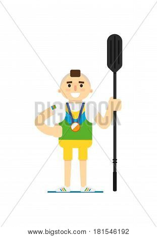 Smiling canoe rowing sportsman with medal vector illustration isolated on white background. Sport competition concept, athlete personage in flat design.