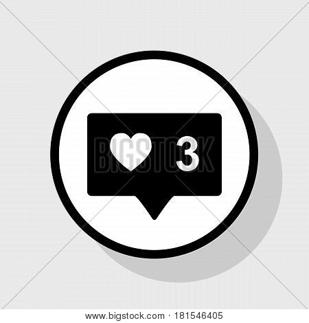 Like and comment sign. Vector. Flat black icon in white circle with shadow at gray background.