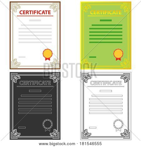 Certificate icon. Flat design vector illustration vector.
