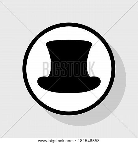 Top hat sign. Vector. Flat black icon in white circle with shadow at gray background.