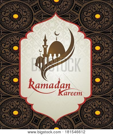 Ramadan Kareem greeting card template. Ramadan Kareem illustration