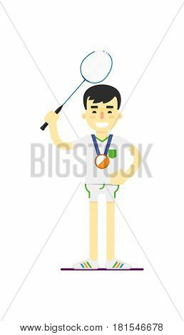 Smiling man badminton player with medal vector illustration isolated on white background. Sport competition concept, sportsman, athlete personage in flat design.
