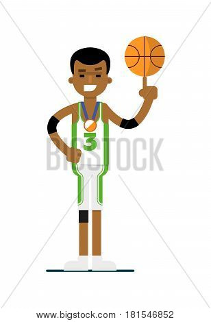 Young black man basketball player with ball vector illustration isolated on white background. Sport competition concept, sportsman, athlete personage in flat design.