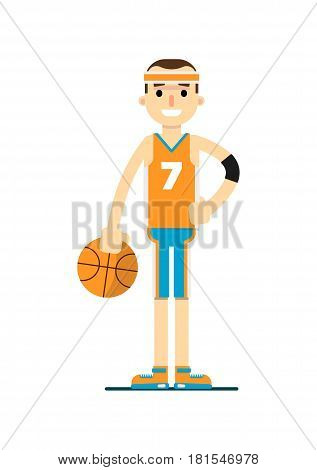 Young smiling basketball player vector illustration isolated on white background. Sport competition concept, sportsman, athlete personage in flat design.