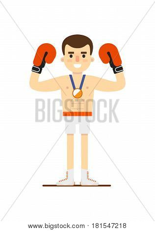 Boxing man winning bronze medal vector illustration isolated on white background. Sport competition concept, sportsman, athlete personage in flat design.