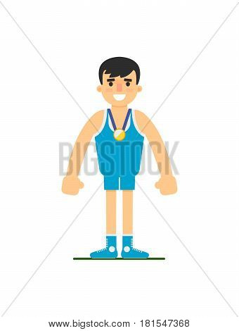 Young wrestler in sports uniform vector illustration isolated on white background. Sport competition concept, sportsman personage in flat design.