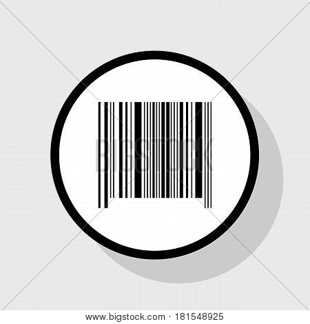 Bar code sign. Vector. Flat black icon in white circle with shadow at gray background.