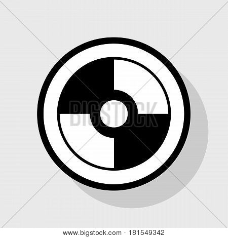 Vector CD or DVD sign. Vector. Flat black icon in white circle with shadow at gray background.