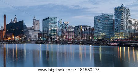 A panorama/letterbox crop of the buildings at Mann Island & Pier Head on the Liverpool waterfront. This was captured on a cold winters morning shortly after dawn.