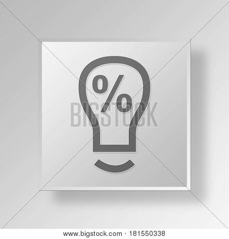 3D Symbol Gray Square Light Buld Idea icon Business Concept