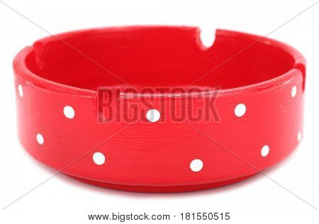 Red white spotted dotted ashtray