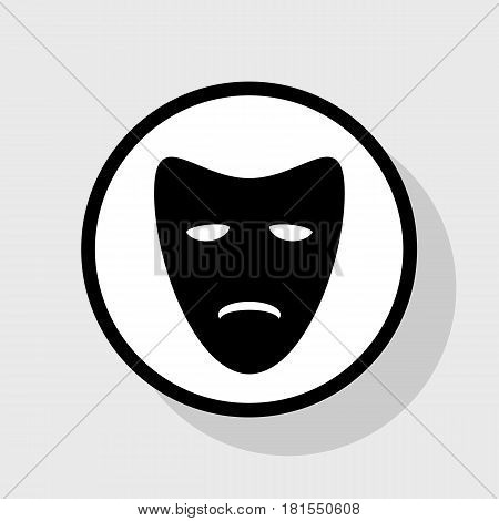 Tragedy theatrical masks. Vector. Flat black icon in white circle with shadow at gray background.