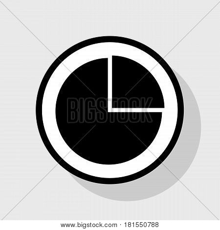 Business graph sign. Vector. Flat black icon in white circle with shadow at gray background.