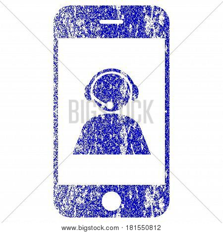 Smartphone Operator Contact Portrait textured icon for overlay watermark stamps. Blue vectorized texture. Flat vector symbol with dust design. Blue rubber seal stamp imitation.