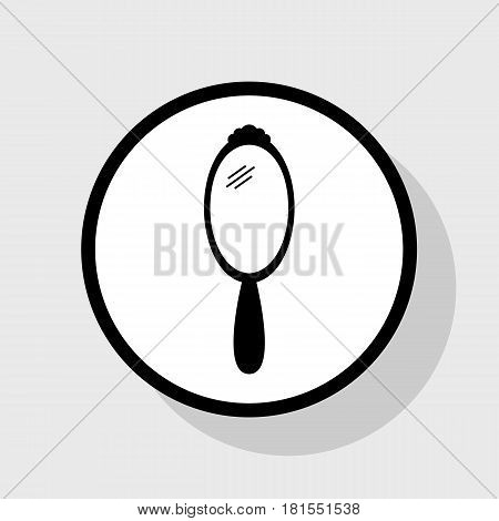 Hand Mirror sign. Vector. Flat black icon in white circle with shadow at gray background.