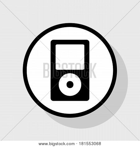 Portable music device. Vector. Flat black icon in white circle with shadow at gray background.