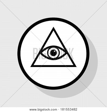 All seeing eye pyramid symbol. Freemason and spiritual. Vector. Flat black icon in white circle with shadow at gray background.