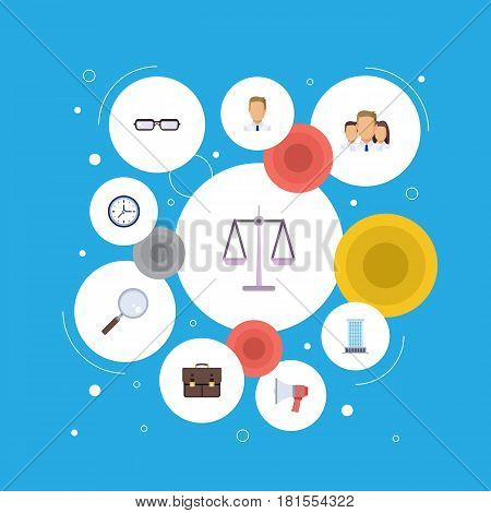 Flat Loudspeaker, Portfolio, Magnifier And Other Vector Elements. Set Of Employment Flat Symbols Also Includes Businessman, Bag, Announcement Objects.