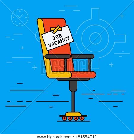 Office or desk chair with hiring message table. Vacant seat or vacancy concept. Recruitment HR symbol advertisement. Job search or employment creative illustration. Flat vector design.