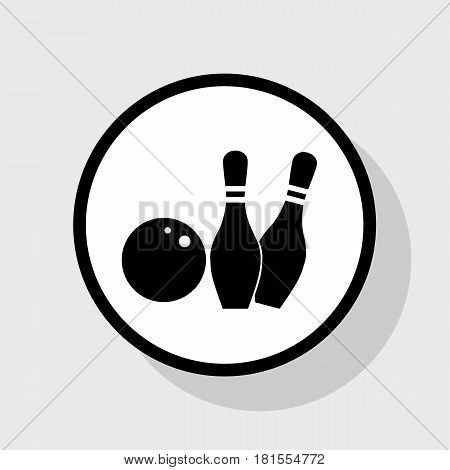 Bowling sign illustration. Vector. Flat black icon in white circle with shadow at gray background.