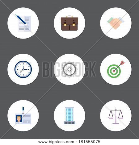 Flat Office, Contract, Id Card And Other Vector Elements. Set Of Job Flat Symbols Also Includes Target, Bag, Aim Objects.