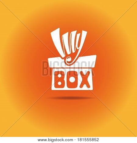 A box with a bow. In the picture box with the word box and the bow of the word my. Box with shadow. Orange gradient background.