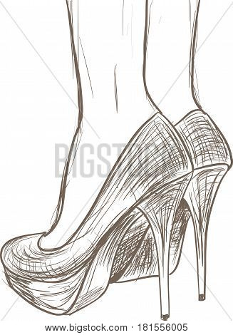 A sketch of women's high heeled shoes