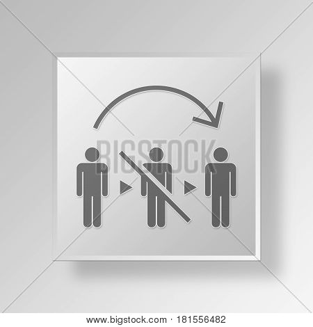 3D Symbol Gray Square No Mediator icon Business Concept