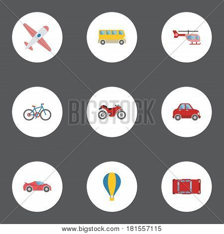 Flat Car, Airship, Aircraft And Other Vector Elements. Set Of Machine Flat Symbols Also Includes Air, Aircraft, Omnibus Objects.