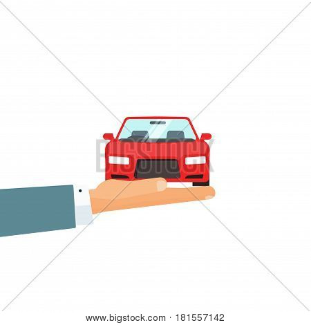 Hand holding car vector illustration, concept of automobile care, insurance for auto, rental service giving car