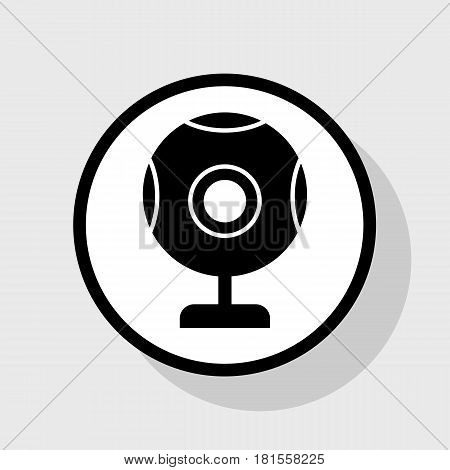 Chat web camera sign. Vector. Flat black icon in white circle with shadow at gray background.