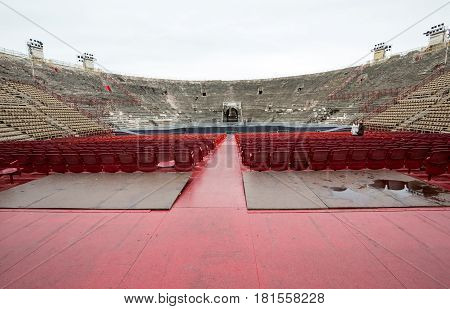 VERONA ITALY - MAY 1 2016: Roman amphitheatre in Verona Italy. The place of annual festival operas . The Verona Arena is a roman amphitheatre built in 30 AD.