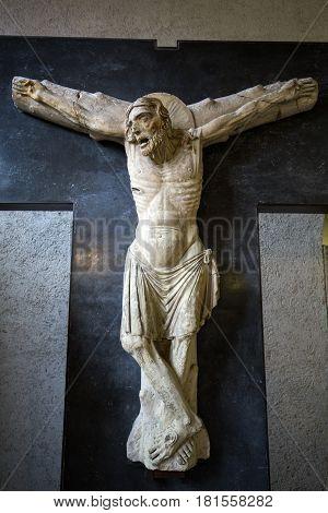 VERONA ITALY - MAY 1 2016: Castelvecchio Museum. Verona Italy. Crucified the Mary and Saint John from Church of San Giacomo di Tomba