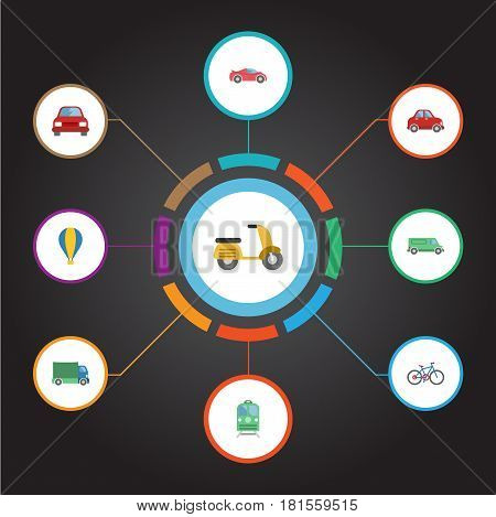 Flat Bicycle, Carriage, Metro And Other Vector Elements. Set Of Vehicle Flat Symbols Also Includes Van, Truck, Cycle Objects.