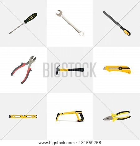 Realistic Pliers, Plumb Ruler, Stationery Knife And Other Vector Elements. Set Of Kit Realistic Symbols Also Includes Hacksaw, Wrench, Construction Objects.