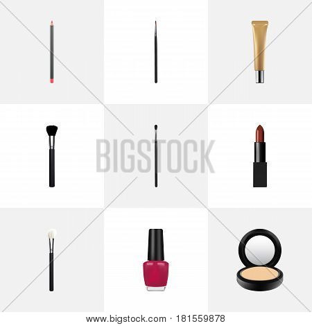 Realistic Fashion Equipment, Collagen Tube, Mouth Pen And Other Vector Elements. Set Of Maquillage Realistic Symbols Also Includes Makeup, Brush, Pencil Objects.