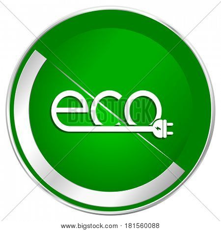 Eco electric plug silver metallic border green web icon for mobile apps and internet.