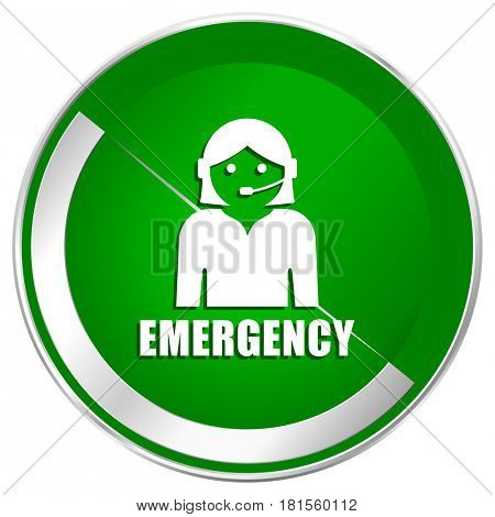Emergency silver metallic border green web icon for mobile apps and internet.