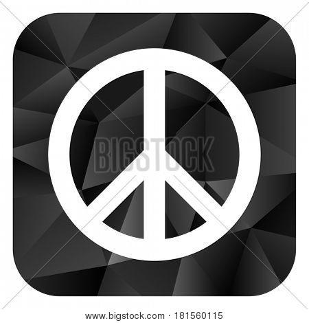 Peace black color web modern brillant design square internet icon on white background.