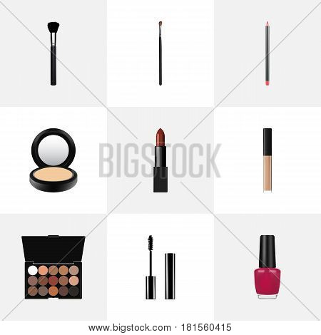 Realistic Varnish, Eye Paintbrush, Blusher And Other Vector Elements. Set Of Cosmetics Realistic Symbols Also Includes Brow, Mascara, Polish Objects.