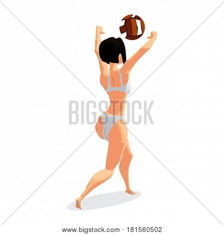 Young woman playing volleyball at beach. Girl beats the ball in the game. Back view. Flat isolated vector illustration