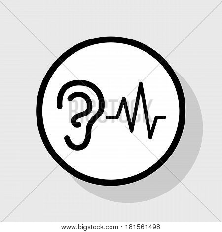 Ear hearing sound sign. Vector. Flat black icon in white circle with shadow at gray background.